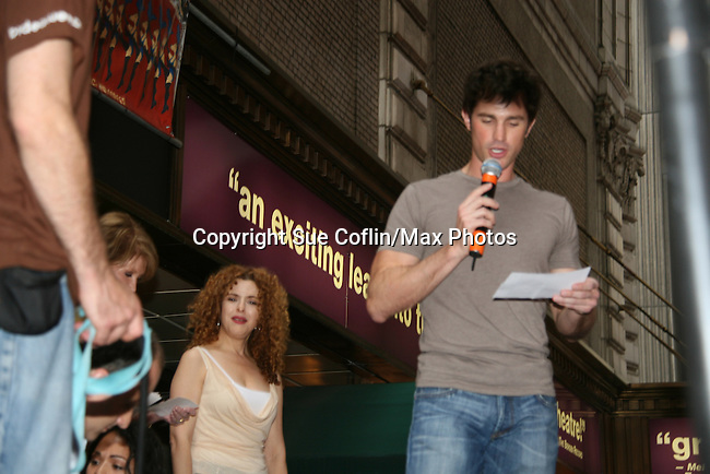 """As The World Turns' Matt Cavanaugh stars in Westside Story and is on stage with Bernadette Peters at Broadway Barks 11 - a """"Pawpular"""" star-studded dog and cat adopt-a-thon on July 11, 2009 in Shubert Alley, New York City, NY. (Photo by Sue Coflin/Max Photos)"""