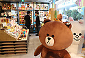 April 27, 2017, Tokyo, Japan - Japan's SNS giant LINE's character goods are displayed at a pop-up cafe and character goods shop featuring LINE's famous characters in Tokyo on Thursday, April 27, 2017. The Shinjuku Box, run by Mitsukoshi Isetan Transit, will open cafes of Taiwan's ice dessert shop Ice Monster and US chocolate shop Max Brenner using LINE characters and LINE's character goods shop from April 28 near Shinjuku station.   (Photo by Yoshio Tsunoda/AFLO) LwX -ytd-