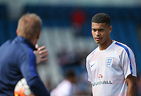 Cameron Humphreys (Manchester City) of England U19 listens the the new head coach during the International match between England U19 and Netherlands U19 at New Bucks Head, Telford, England on 1 September 2016. Photo by Andy Rowland.