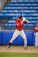 Potomac Nationals designated hitter Alec Keller (3) at bat during the first game of a doubleheader against the Salem Red Sox on June 11, 2018 at Haley Toyota Field in Salem, Virginia.  Potomac defeated Salem 9-4.  (Mike Janes/Four Seam Images)