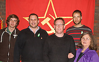 Comrades in front of Party Banner after attending a CPGBML Saklatvala Hall Commemoration celebrating the centenary of  Kim Il-sung's birth, some sporting Easter Lily's, Easter Sunday 2012 Southall