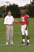 7 August 2006: Stanford Cardinal head coach Walt Harris and Wopamo Osaisai during Stanford Football's Team Photo Day at Stanford Football's Practice Field in Stanford, CA.