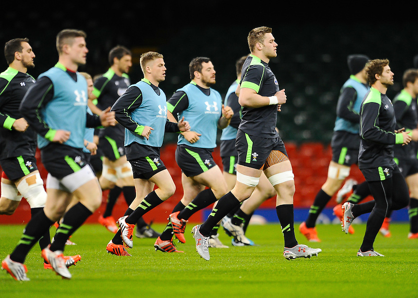 Wales' Dan Lydiate and the rest of the Welsh team in action during todays Wales training session<br /> <br /> Photographer Craig Thomas/CameraSport<br /> <br /> International Rugby Union - 2015 RBS 6 Nations Championship - Wales Training Session - Friday 13th March 2015 - Millennium Stadium - Cardiff<br /> <br /> &copy; CameraSport - 43 Linden Ave. Countesthorpe. Leicester. England. LE8 5PG - Tel: +44 (0) 116 277 4147 - admin@camerasport.com - www.camerasport.com