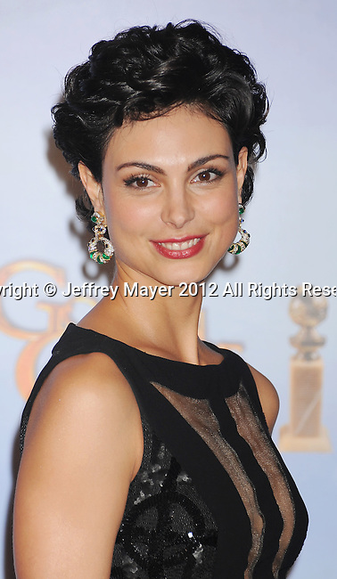 BEVERLY HILLS, CA - JANUARY 15: Morena Baccarin poses in the press room at the 69th Annual Golden Globe Awards held at the Beverly Hilton Hotel on January 15, 2012 in Beverly Hills, California.