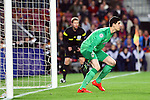 UEFA Champions League 2013/2014.<br /> Quarter-finals 1st leg.<br /> FC Barcelona vs Club Atletico de Madrid: 1-1.<br /> Thibaut Courtois.