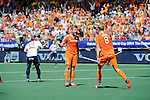 The Hague, Netherlands, June 13: Mink van der Weerden #30 of The Netherlands celebrates after scoring a penalty corner for the leading goal (1-0) during the field hockey semi-final match (Men) between The Netherlands and England on June 13, 2014 during the World Cup 2014 at Kyocera Stadium in The Hague, Netherlands. Final score 1-0 (1-0)  (Photo by Dirk Markgraf / www.265-images.com) *** Local caption *** Mark Gleghorne #14 of England, Mink van der Weerden #30 of The Netherlands, Billy Bakker #8 of The Netherlands