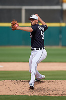Detroit Tigers relief pitcher Drew VerHagen (54) delivers a pitch during a Grapefruit League Spring Training game against the New York Yankees on February 27, 2019 at Publix Field at Joker Marchant Stadium in Lakeland, Florida.  Yankees defeated the Tigers 10-4 as the game was called after the sixth inning due to rain.  (Mike Janes/Four Seam Images)