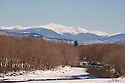 The classic Saco River Valley composition, Mt Washington over the Saco River in winter.