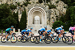 The peloton pass by the Monument aux Morts 1918 during Stage 1 of Tour de France 2020, running 156km from Nice Moyen Pays to Nice, France. 29th August 2020.<br /> Picture: ASO/Alex Broadway | Cyclefile<br /> All photos usage must carry mandatory copyright credit (© Cyclefile | ASO/Alex Broadway)