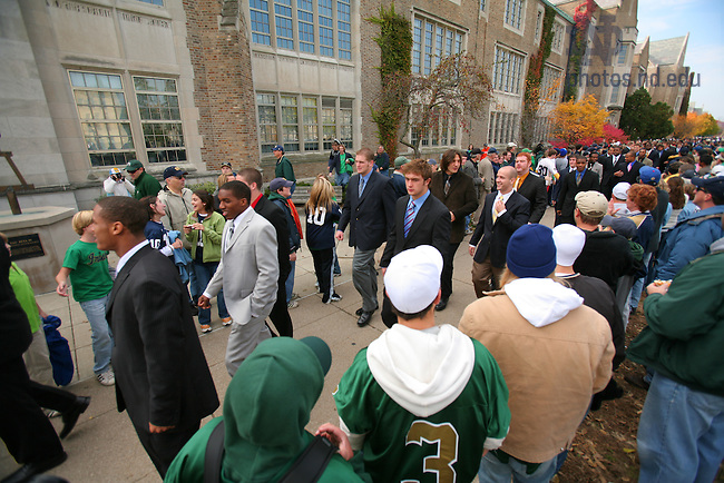 Oct. 21, 2006; Notre Dame football players walk to the stadium.