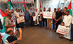 Palestinians from the national and Islamic forces take part in a protest to show solidarity with prisoners in Israeli jalis, ahead of the Eid al-Adha, in front of Red Cross office, on July 30, 2020. Photo by Ashraf Amra