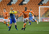 18/12/18 The Emirates FA Cup, 2nd Round Replay Blackpool v Solihull Moor<br /> <br /> Alex Gudger tangles with Joe Dodoo