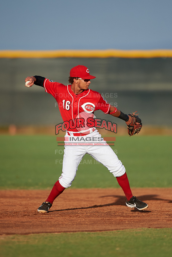 AZL Reds second baseman Sebastian Almonte (16) throws to first base during an Arizona League game against the AZL Athletics Green on July 21, 2019 at the Cincinnati Reds Spring Training Complex in Goodyear, Arizona. The AZL Reds defeated the AZL Athletics Green 8-6. (Zachary Lucy/Four Seam Images)