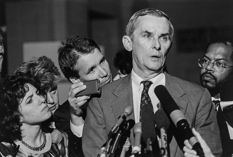 Rep. Bill Lipinski, D-Ill., talks to reporters following a Democratic Caucus meeting. He is facing possibility of being removed as Subcommittee Chairman. June 09, 1993. (Photo by Maureen Keating/CQ Roll Call via Getty Images)