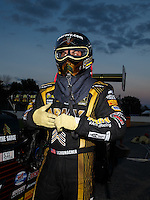 Sep 3, 2016; Clermont, IN, USA; NHRA top fuel driver Tony Schumacher after winning the Traxxas Shooutout speciality race during qualifying for the US Nationals at Lucas Oil Raceway. Mandatory Credit: Mark J. Rebilas-USA TODAY Sports