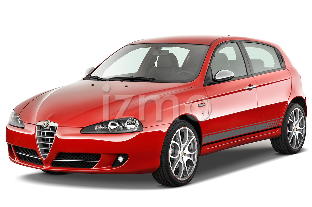 Front three quarter view of 2000 - 2010 Alfa Romeo 147 5 Door Ducati Corse Hatchback Stock Photo