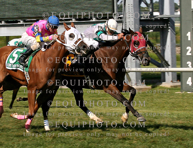 This Ain't No Bull #6 with John Bisono riding, won the $75,000 Marshall Jenney Handicap on PA Breeders' Day at Parx Racing in Bensalem, PA.  2nd was #5 Love Those Boots and Forest Boyce. 9/7/13.  Photo By Barbara Weidl/EQUI-PHOTO.