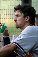 Shortstop Braden Shewmake (39) of the Rome Braves, an Atlanta Braves' First-Round pick in the 2019 MLB Draft, waits in the dugout in a game against the Greenville Drive on Sunday, June 30, 2019, at Fluor Field at the West End in Greenville, South Carolina. Rome won, 6-3. (Tom Priddy/Four Seam Images)