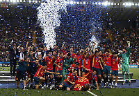 Football: Uefa under 21 Championship 2019 Final, Spain - Germany Dacia Arena, Udine Italy on June 30, 2019.<br /> Spanish team celebrates with the trophy the victory of the Uefa under 21 Championship 2019 after a football match against Germany at the Dacia Arena in Udine, Italy on June 30, 2019.<br /> UPDATE IMAGES PRESS/Isabella Bonotto