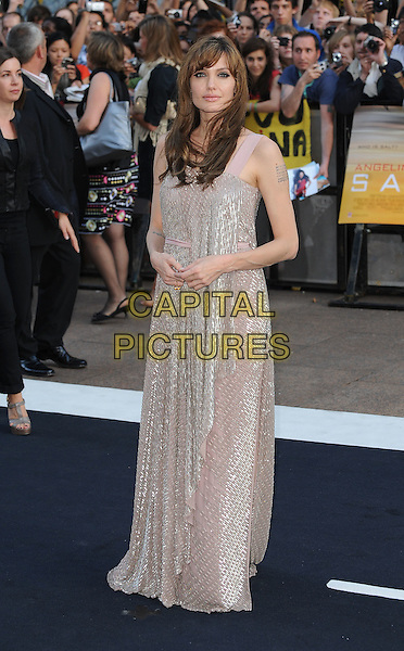 "ANGELINA JOLIE .Attending the UK Film Premiere of ""Salt"", Empire cinema, Leicester Square, London, England, UK, .August 16th 2010..full length long maxi dress gold silver beige sequined sequin nude tattoos pink straps sleeveless  beaded.CAP/BEL.©Tom Belcher/Capital Pictures."