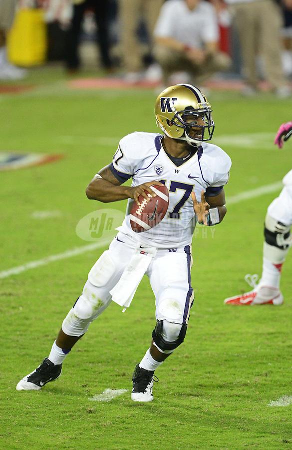 Oct. 20, 2012; Tempe, AZ, USA; Washington Huskies quarterback (17) Keith Price against the Arizona Wildcats at Arizona Stadium. Mandatory Credit: Mark J. Rebilas-USA TODAY Sports