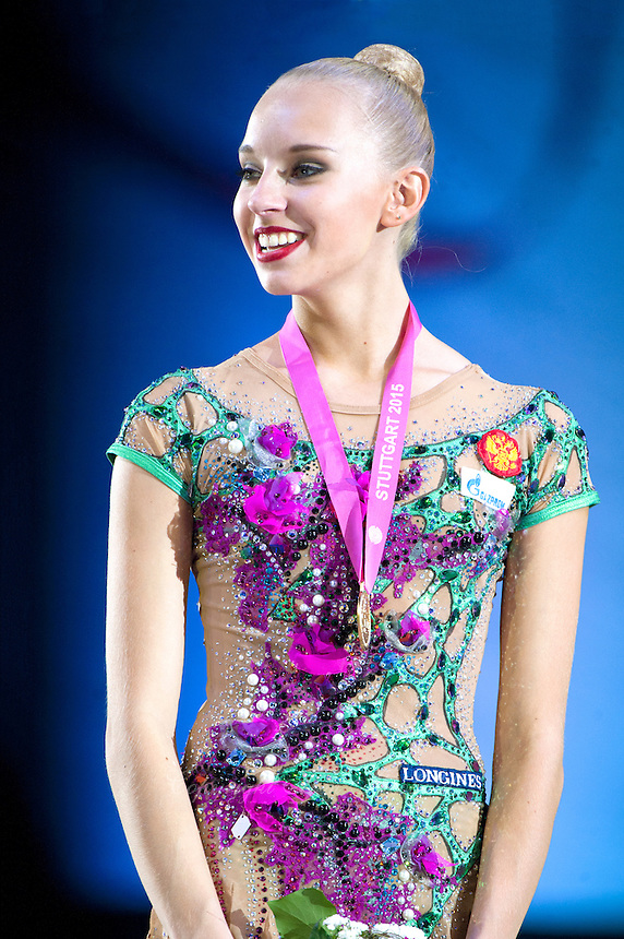 September 08, 2015 - Stuttgart, Germany - YANA KUDRYAVTSEVA of Russia smiles during medal ceremony after winning gold in event final at 2015 World Championships.
