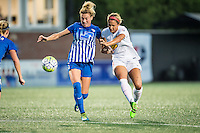 Allston, MA - Wednesday Sept. 07, 2016: Kassey Kallman, Lynn Williams during a regular season National Women's Soccer League (NWSL) match between the Boston Breakers and the Western New York Flash at Jordan Field.