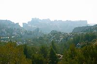 A view over the les Alpilles mountains over the Les Baux village, Provence, Bouche du Rhone, France