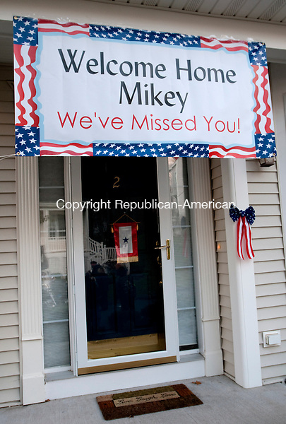 SOUTHBURY, CT, 05 NOVEMBER 2010-111010JS07--The front door of the home of United State Air Force soldier Michael Thompson of Southbury welcomes him back home Wednesday from his service in Afghanistan.<br />  Jim Shannon Republican-American