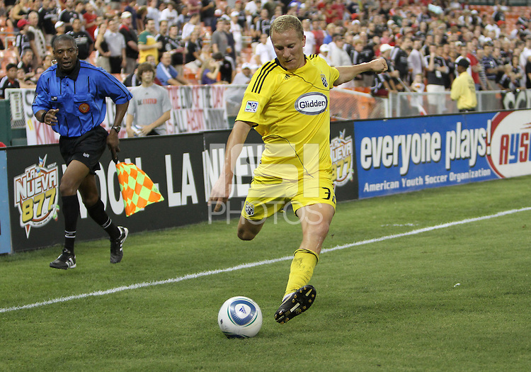Steven Lenhart #32 of the Columbus Crew swings over a cross during a US Open Cup semi final match against D.C. United at RFK Stadium on September 1 2010, in Washington DC. Columbus won 2-1 aet.