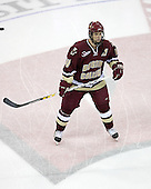 Mike Brennan 4 of Boston College takes part in warmups. The Boston College Eagles defeated the University of Wisconsin Badgers 3-0 on Friday, October 27, 2006, at the Kohl Center in Madison, Wisconsin in their first meeting since the 2006 Frozen Four Final which Wisconsin won 2-1 to take the national championship.<br />