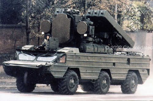 "United States Department of Defense released its 1985 assessment of Soviet Military Power at the Pentagon in Washington, DC on April 2, 1985.  The release stated ""The SA-8 tactical air defense system is part of the USSR's integrated system of surface-to-air missiles and anti-aircraft artillery""<br /> Credit: Department of Defense via CNP"