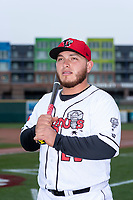 Lansing Lugnuts catcher Alejandro Kirk (23) poses for a photo before a Midwest League game against the Wisconsin Timber Rattlers at Cooley Law School Stadium on May 2, 2019 in Lansing, Michigan. (Zachary Lucy/Four Seam Images)