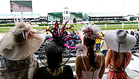 LOUISVILLE, KY - MAY 05: Four women watch the race wear their best hats on Kentucky Oaks Day at Churchill Downs on May 5, 2017 in Louisville, Kentucky. (Photo by Jesse Caris/Eclipse Sportswire/Getty Images)