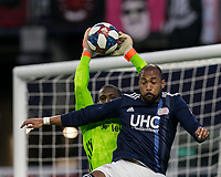 Foxborough, MA - May 25, 2019: Bill Hamid (#24), Teal Bunbury (#10) First half action. In a Major League Soccer (MLS) match, New England Revolution (blue/white) vs D.C. United (white), at Gillette Stadium on May 25, 2019 in Foxborough, MA. (Photo by Andrew Katsampes/ISI Photos).