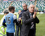 Mark Warburton applauds the travelling Rangers supporters from near and far