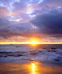 USA; California; San Diego.; Sunset Cliffs beach on the Pacific Ocean at Sunset.