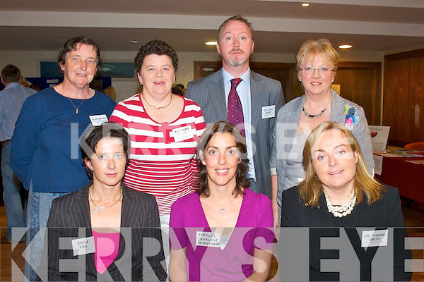 Healthy Living: Organisers of the very successful Kerry Community Heart Health Awareness evening at Manor West Hotel last Wednesday evening were seated l-r: Sheila King (senior community dietician), Eibhlis Cahalane (physiotherapist), Dr Yvonne Smyth (consultant cardiologist), Elsie Moore (public health nursing), Kay Karim (KGH), Dr Louis Kearney (consultant cardiologist) and Margaret O'Keeffe (KGH).