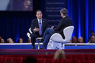 National Harbor, MD - March 4, 2016: Republican National Committee chairman Reince Priebus discusses the state of the Republican party with TV host Sean Hannity (r) at the 2016 Conservative Political Action Conference, hosted by the American Conservative Union, at the Gaylord National Hotel in National Harbor, MD, March 4, 2016.   (Photo by Don Baxter/Media Images International)