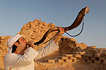 Israel, Masada, the inauguration of the Synagogue, blowing the Shofar, 2005<br />
