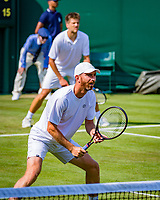 London, England, 5 th. July, 2018, Tennis,  Wimbledon, Men's doubles: Sander Arends and Matwe Middelkoop (NED) (foreground)<br /> Photo: Henk Koster/tennisimages.com