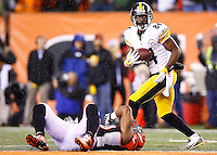Antonio Brown #84 of the Pittsburgh Steelers catches a pass against the Cincinnati Bengals during the Wild Card playoff game at Paul Brown Stadium on January 9, 2016 in Cincinnati, Ohio. (Photo by Jared Wickerham/DKPittsburghSports)