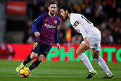 2nd February 2019, Camp Nou, Barcelona, Spain; La Liga football, Barcelona versus Valencia; Lionel Messi of FC Barcelona passes the ball through midfield
