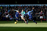 Jack Grealish of Aston Villa attempt on the ball against Cheick Ndoye of Birmingham City<br /> <br /> Photographer Leila Coker/CameraSport<br /> <br /> The EFL Sky Bet Championship - Aston Villa v Birmingham City - Sunday 11th February 2018 - Villa Park - Birmingham<br /> <br /> World Copyright &copy; 2018 CameraSport. All rights reserved. 43 Linden Ave. Countesthorpe. Leicester. England. LE8 5PG - Tel: +44 (0) 116 277 4147 - admin@camerasport.com - www.camerasport.com