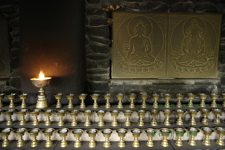 Samye Ling Monastry and Tibetan Centre Eskdalemuir near Langolm Dumfries and Galloway Butter Lamp House 1008 candles which is the number of times the Buddha will incarnate in our age or eon.