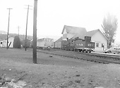 Durango depot scene with #453 switching house cars.  Silver Vista on adjacent track.  Mid to late 1940's.<br /> D&amp;RGW  Durango, CO  1944-1949