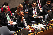 United States President Barack Obama listens to other leader's remarks as he chairs the United Nations Security Council summit cracking down on foreign terrorist fighters at the U.N. 69th General Assembly in New York, New York on Wednesday, September 24, 2014.  Visible in the photo are also U.S. Secretary of State John F. Kerry and U.S. Ambassador to the U.N. Samantha Power.<br /> Credit: Allan Tannenbaum / Pool via CNP
