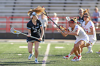 College Park, MD - April 27, 2019: John Hopkins Bluejays Nicole DeMase (2) passes the ball during the game between John Hopkins and Maryland at  Capital One Field at Maryland Stadium in College Park, MD.  (Photo by Elliott Brown/Media Images International)