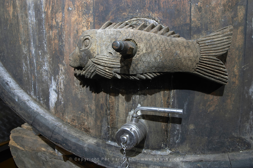 decorative carved vat closure dom g humbrecht pfaffenheim alsace france