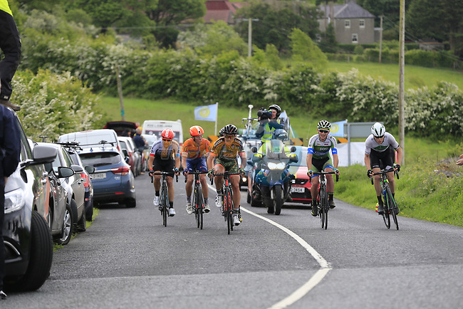 The breakaway group on the first Cat 3 climb Loughcrew during Stage 1 of the 2017 An Post Ras running 146.1km from Dublin Castle to Longford, Ireland. 21st May 2017.<br /> Picture: Eoin Clarke | Cyclefile<br /> <br /> <br /> All photos usage must carry mandatory copyright credit (&copy; Cyclefile | Eoin Clarke)
